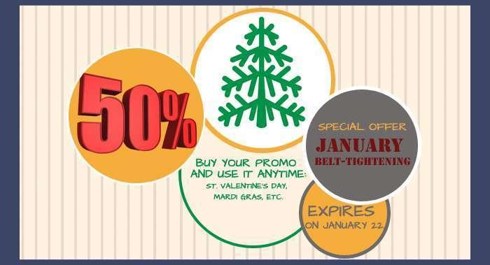 January belt-tightening - 50% off