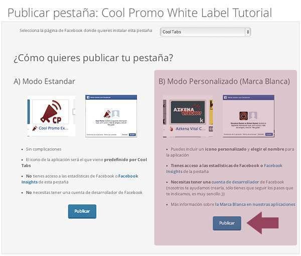 Elige el modo personalizado o modo marca blanca