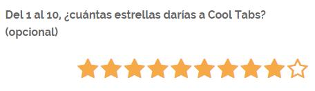 Rating con estrellas del 1 al 10