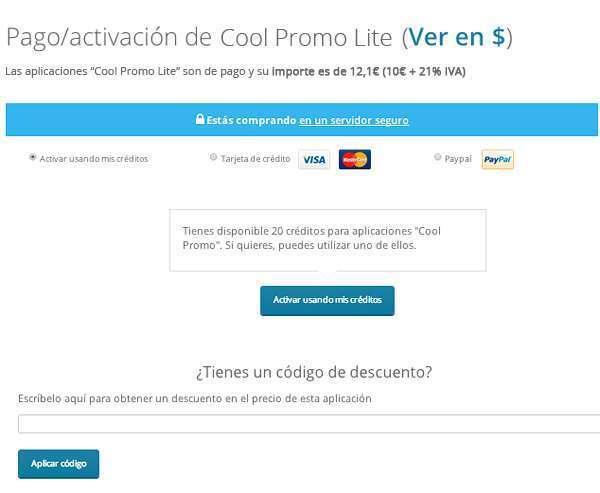 Pago de app Cool Promo Lite