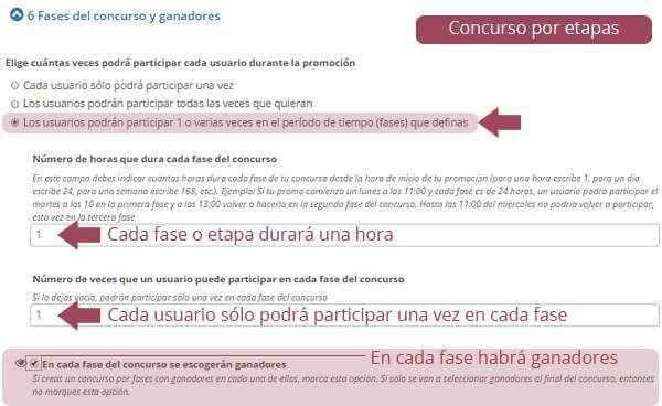 Configurar distintas etapas en el formulario de creación de una promoción