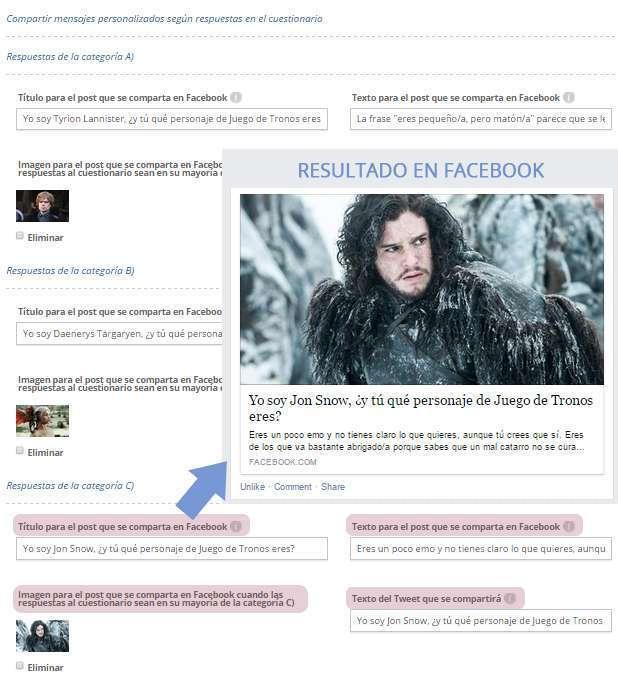 Configurar el mensaje de cada resultado para cuando se comparta en Facebook y Twitter
