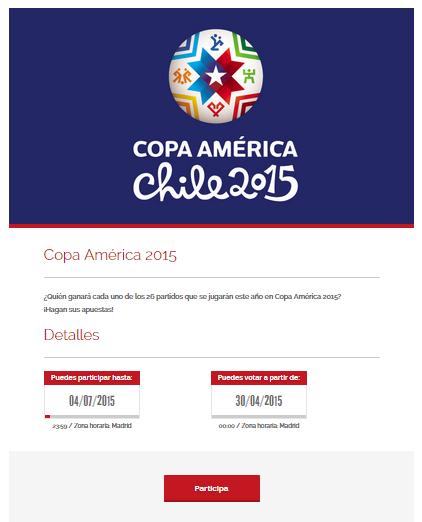 Página inicial de la porra de Copa América 2015