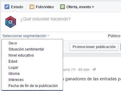 Segmentar público objetivo en publicaciones de Facebook